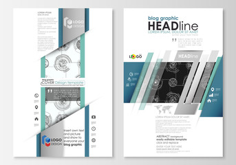 Blog graphic business templates. Page website template, flat layout. High tech design, connecting system. Science and technology concept. Futuristic abstract vector background.