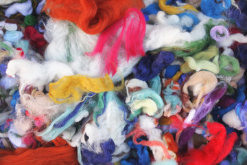 Felting materials -  colored wool pieces for felting