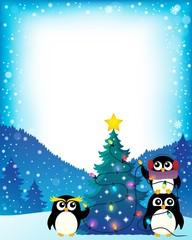 Penguins around Christmas tree theme 4