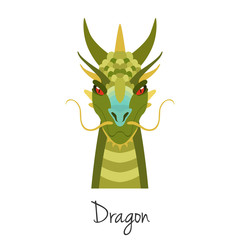 Vector Green dragon face isolated. Animal of Chinese zodiac symbol