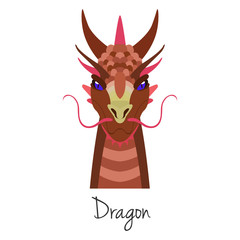 Vector red dragon face isolated. Animal of Chinese zodiac symbol