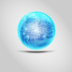 shiny blue ball isolated. Digital electronic circuit board combined with glossy ball