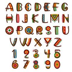 Wall Mural - African ethnic primitive font. Hand drawn brightly safari vector alphabet
