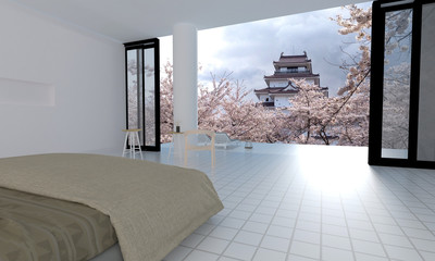 Japan style bedroom interior with osaka castle and sakura blooming -3d rendering