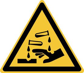 ISO 7010 W023 Warning; Corrosive substance