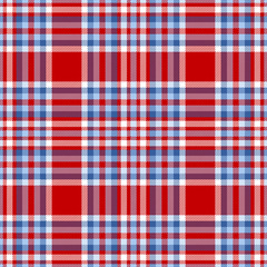Seamless tartan plaid pattern. Checkered fabric texture print in palette of moderate blue, light blue, white and bright red.