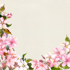 Pink flowers - apple, cherry blossom. Floral frame. Vintage watercolor on paper background