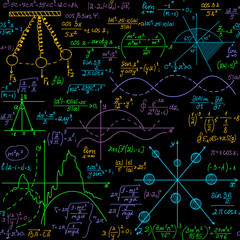 Mathematical vector educational seamless pattern with multicolored formulas, equations and calculations