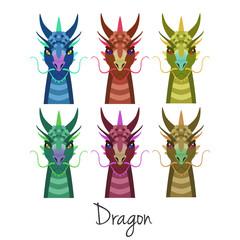 Vector colored dragon head set Animal of Chinese zodiac symbol