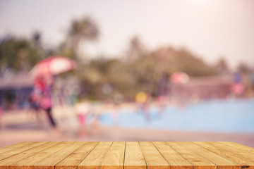 blurred Vintage tone picture of swimming pool , rest and relax c