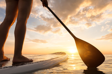 Stand up paddle boarding on quiet sea, legs close-up, sunset