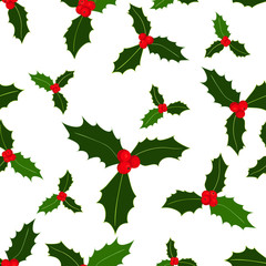 Seamless pattern. Christmas holly berries on white background. Vector illustration. Hand drawn elements