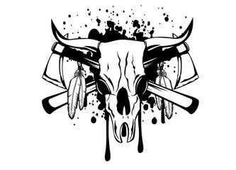 skull bull and crossed axes