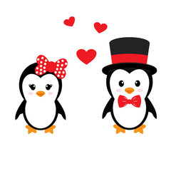 cute penguins set with heart