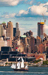 Manhattan Skyline , New York Skyline with sailing ships on the Hudson River, New York City