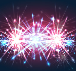 Illustration with bright holiday fireworks. Vector element for your creativity