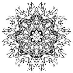 Round doodle mandala with petals. Coloring for adults. Vector element for your creativity