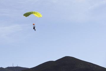 Parachute jumper returns to earth