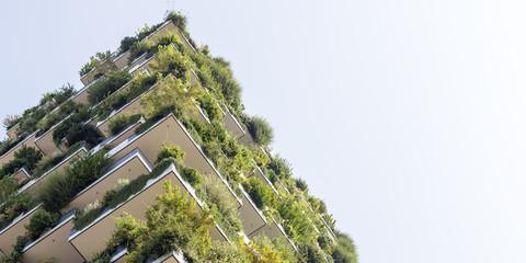 Green futuristic skyscraper