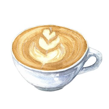 Hand drawn watercolor cup of coffee, latte or cappuccino with milk art, isolated on white background. Vector illustration.