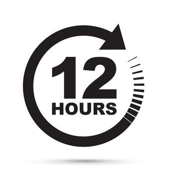 black 12 hour icon