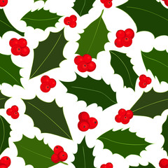 Christmas holly berries seamless pattern. Vector illustration