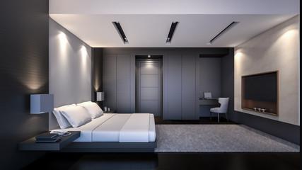 Modern Bedroom in black / 3D Rendering