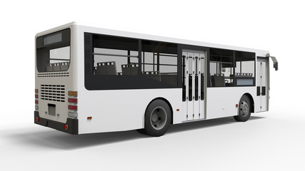 Small urban white bus on a white background. 3d rendering.