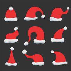 Set of Red Santa Claus Hats on black background. Winter Merry christmas and new year celebration vector illustration.