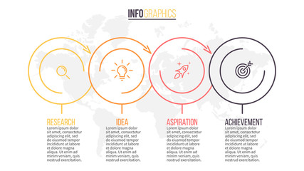 Business infographics. Timeline with 4 steps, circles. Vector template.