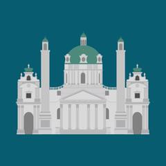 Austrian City sights in Vienna. Austria Landmark Travel And Journey Architecture Elements Karlskirche