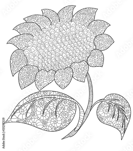 Sunflower Doodle Coloring Book For Adult