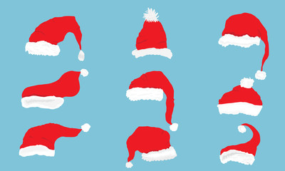 Vector Collection of red santa hats isolated on blue background.