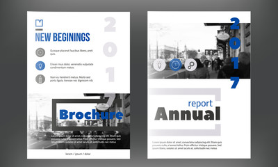 Blue annual report design templates vector set, Leaflet cover for presentation. Business book cover, flyer, professional corporate identity in modern style.