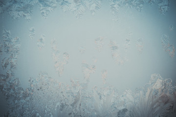 icy frame on the glass surface