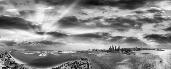 Black and white aerial view of Dubai Marina and Palm Jumeirah -