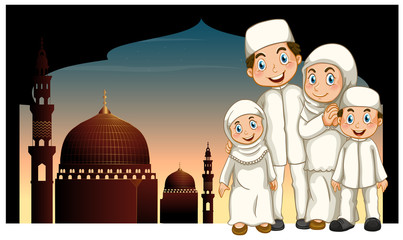 Muslim family and mosque