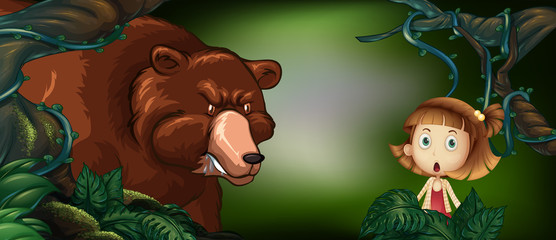 Big bear and little girl in the woods