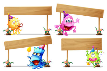 Sign template with cute aliens