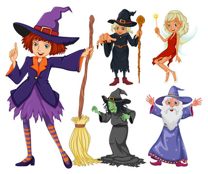 Fairytales set with witch and wizard