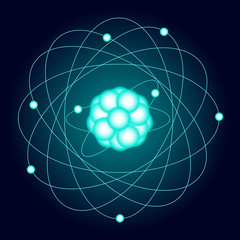 Illuminated model of an oxygen atom on a dark background. Vector