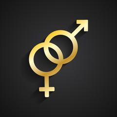 Heterosexual gold symbol on black background