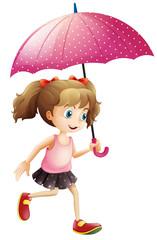 Little girl using umbrella