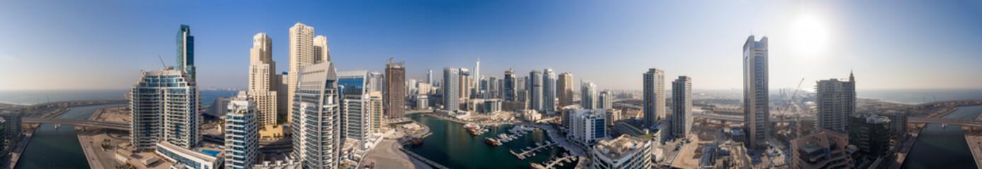 Dubai Marina at dusk, aerial view