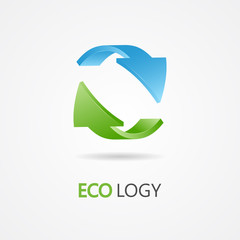 Recycle symbol, recycle logo, ecology logo with green and blue arrow