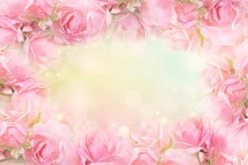sweet pink rose flower frame on soft bokeh vintage backgrond for valentine or wedding