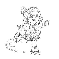 Coloring Page Outline Of cartoon girl skating. Winter sports. Coloring book for kids