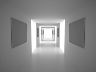 Interior. Empty Corridor with blank frames. White Architecture Background. 3d Render Illustration.