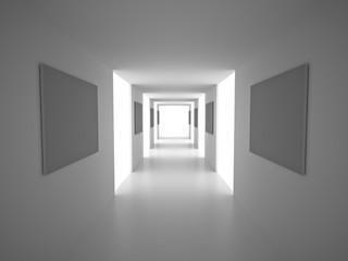 Interior. Empty Corridor with blank frames. White Architecture Background. 3d Render Illustration.