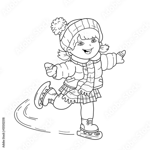 Coloring Page Outline Of cartoon girl skating. Winter sports ...